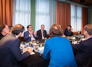 HRH Prince Constantijn van Oranje, Special Envoy, TechLeap.NL; Gary Shapiro, President and CEO, Consumer Technology Association; and others during the CEO Roundtable Lunch.
