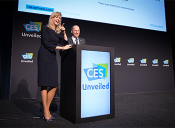 Mona Keijzer, State Secretary of Economic Affairs and Climate Policy, Netherlands, and Gary Shapiro, President and CEO, Consumer Technology Association, during the CES Unveiled in Amsterdam Closing Remarks.