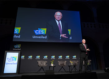 Pete Hoekstra, U.S. Ambassador to the Netherlands, speaks at CES Unveiled in Amsterdam.