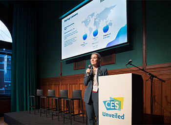 HRH Prince Constantijn van Oranje, Special Envoy, TechLeap.NL and Karen Chupka, Executive Vice President, Consumer Technology Association on stage at CES Unveiled in Amsterdam.