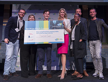 Industry experts and government officials award SpeakSee, a Dutch startup, with first place in the Pitch Contest at CES Unveiled Amsterdam.