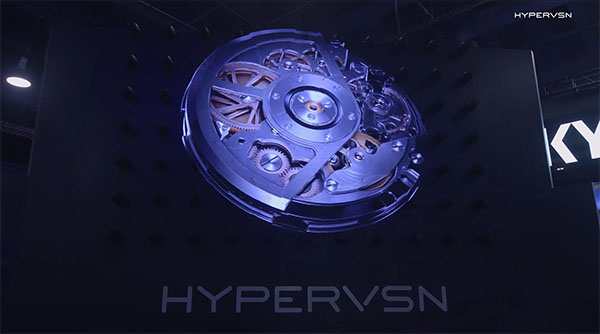 HYPERVSN 3D holographic visuals appear to float in mid-air.